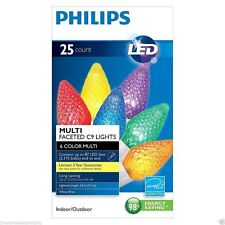 New ! Philips 25ct Multi LED Faceted C9 String Lights White Wire 24 FT Long