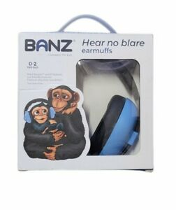 Baby BANZ Infant Hearing Protection Earmuffs BLUE Hear No Blare 0-2 Years Old