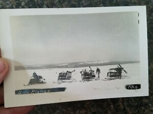 old Real Photo Postcard,RPPC Sno ( Snow ) Planes on a Froze Landscape