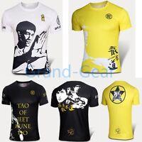 Cycling Running T shirt Jersey Men Pro Tee Short Bruce Lee Sport GongFu Gym