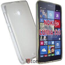Cover Custodia Per Nokia Lumia 535 TRASPATENTE Retro Opaco Silicone Gel TPU
