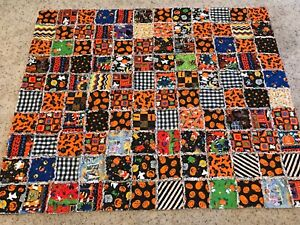 """Handmade Patchwork Scrappy Rag Quilt Halloween themed 65""""x 54"""" Just finished!"""