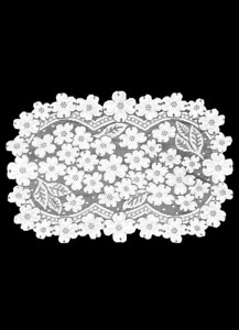 "Heritage Lace White DOGWOOD Placemat 14""x 19"" - Made in USA!"