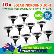 10pcs Solar Powered LED Buried Inground Recessed Lights Garden Outdoor Deck Path