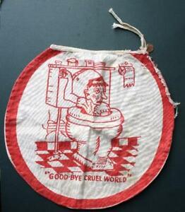 1940-50s Era Comic- cartoon rules toilet lid cover- Goodbye Cruel World-VINTAGE!