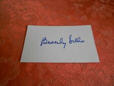 BEVERLY SILLS  AUTOGRAPHED INDEX CARD