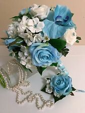 WEDDING PACKAGE, BRIDE BOUQUET, WHITE REAL TOUCH ROSES, AQUA SILK ROSES, CORSAGE