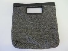 Banana Republic Bag Fold Over Clutch Wool Blend Tweed Leather Trim Blk Wht #8163
