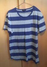 Genuine Gant T-Sirt Blue Grey Stripe Xl New V Neck Shirt Short Sleeve Round Neck