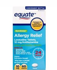 2pk Equate Loratadine 10Mg Non-Drowsy 24 Hour Allergy Relief 60ct Exp Date 10/17