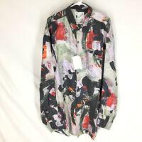 GOOUCH Men's XXL Long Sleeve Shirt Silk Button-Up 90s Abstract Art NWT VTG