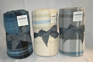 "U PICK Cannon FLEECE Comfy THROW Blanket Plaid BLUE Gray BEIGE 50"" x 60"" NEW"