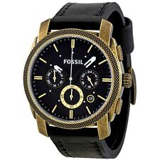 NEW Fossil FS4657 Mens Analog Chronograph Black Dial Black Band Gold Steel Watch