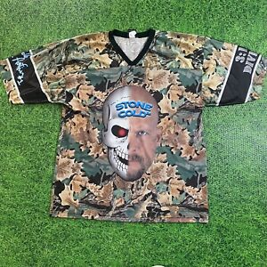 Vintage 1999 WWF WWE WCW STONE COLD STEVE AUSTIN Camo Football Jersey Shirt XL