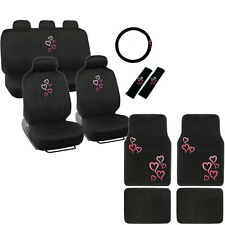 New Pink Heart Car Front Back Full Seat Covers Floor Mats & Steering Wheel Cover