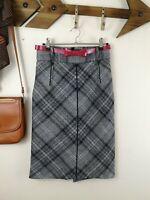 Zara Wool Pencil Skirt. Check. Plaid. SMALL. UK 8. Straight. High Waist. Career