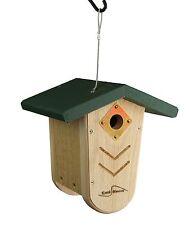 Kettle Moraine Green Roof Nest Box Wren & Chickadee Hanging Bird House #9105Grn