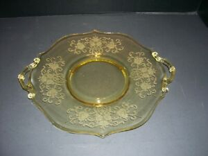 Vintage Yellow  Depression Glass Serving Platter Cake Plate with Handles