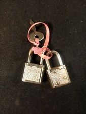 2 Vintage Miniature Locks with 1 Key That Fits Both