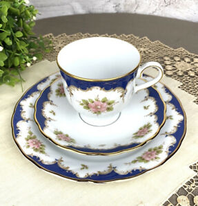 Winterling Bavaria China Blue Floral Baroque Pattern Trio Tea Cup Saucer Plate