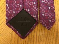 Ermenegildo Zegna Silk Tie Italy Purple Red Pink & Blue Geometric Design