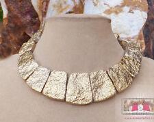 Lg Gold DRUZY CLEOPATRA Titanium Agate Stone STATEMENT NECKLACE - USA SELLER