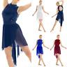 Women Sequin Lyrical Ballet Dance Dress High Low Leotard Skirt Dancewear Costume