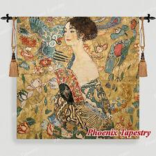 """Gustav Klimt Lady with Fan Fine Art Tapestry Wall Hanging, 54""""x54"""", US"""