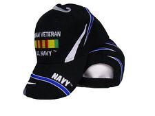 U.S. Navy Vietnam Vet Veteran Ribbon Black Embroidered Ball Cap Hat