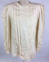 Argenti 100% Silk Button Front Embroidered Dress Shirt Vintage Cream Size 6