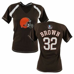 """JIM BROWN MAJESTIC Cleveland Browns """"ELIGIBLE RECEIVER"""" Jersey T Shirt WOMEN'S"""