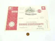 More details for 100 western union telegraph company 1969 $2.50 share certificate bache & co
