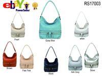UK Women Ladies Designer Soft PU Leather Hobo Handbag Satchel Shoulder Tote Bag