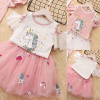 Kids Baby Girls Short Sleeve Unicorn T Shirt Mini Skirts Summer Party Tutu Dress