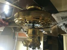 Ceiling Fans, Brass with 4 blades & 3 light fittings each, 3 fans in lot total.
