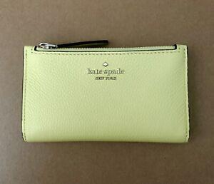 KATE SPADE Jackson STREET MIKEY Small Slim Bifold Yellow Leather WALLET New
