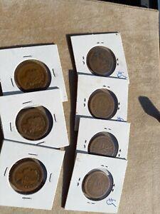 portuguese guinea lot of 7 coins 20 centavos 1933 - good condition