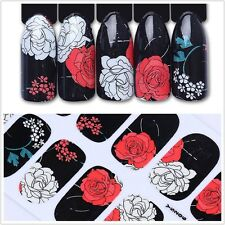 12Pcs Nail Wraps Rose Full Art Stickers Elegant Peony Flower Adhesive Manicure