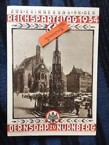 1934 Pre WW2 Hitler Nuremburg Rally Original Commemorative Postcard & Postmark