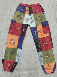 Nepalese handmade stonewashed patchwork funky colorful Printed Cotton Trouser.