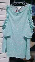 LC Lauren Conrad White, Sea Green Coral Textured Cold-Shoulder Top Size Small