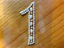 "2 x ""1"" Self Adhesive Stick on PEARL Numbers Diamante Gems Crystals Rhinestones"