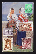 CTO stamps from Germany Switzerland Romania Belgium Turkey on 1939 postcard CPA