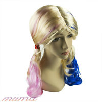 Cosplay Suicide Squad Harley Quinn Wig Pink Blue Gradient Hair Halloween Party