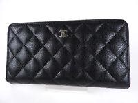 CHANEL CC Matelasse Zip Around Long Wallet Caviar Skin Black Silver A50097 V0978