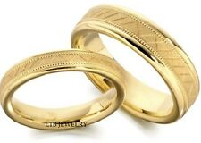 18K YELLOW GOLD MATCHING WEDDING BANDS SET HIS & HERS MENS WOMENS RINGS