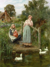 Huge Oil painting Henry John Yeend King - At the Duck Pond woman & her children