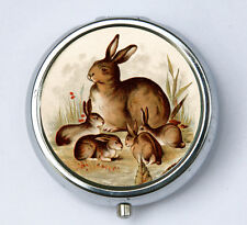 Bunny Rabbit pillbox PILL case box holder victorian fairy tale rabbits DIY