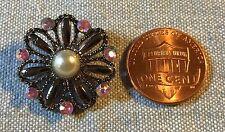 "ONE Dark Silver Tone Metal Pink Rhinestone Button Faux Pearl 7/8"" 23mm # 8324"