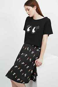 Urban Outfitters Rodnik X Peanuts Belle Eyes Cropped Tee/T-shirt - Black RRP £35